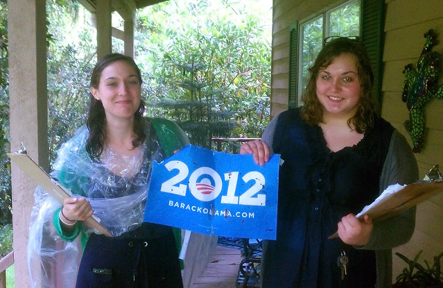 Florida supporters canvass in the rain
