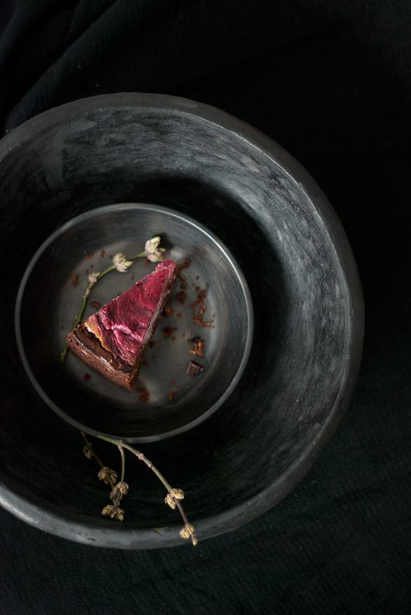 Dark Chocolate Brownie Cake with Raspberry Goat Cheese Swirl