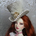 Cream Ostrich Feather Topper by Nightshade Dolls