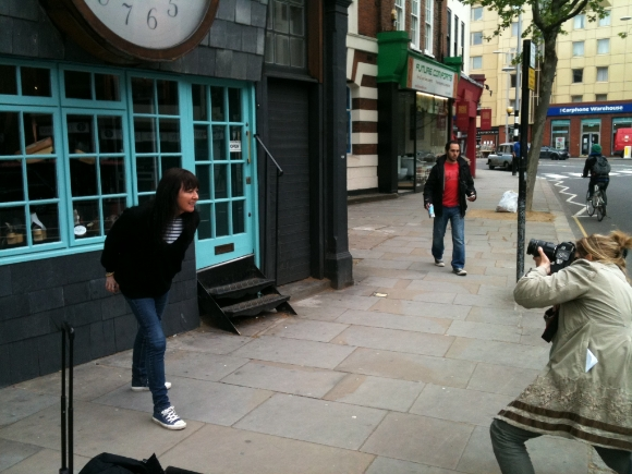 Frederique Cifuentes takes photographs of Diana Crawshaw outside 430 King's Road. Diana Crawshaw was one of the team behind the shop's incarnation as Paradise Garage in 1971.