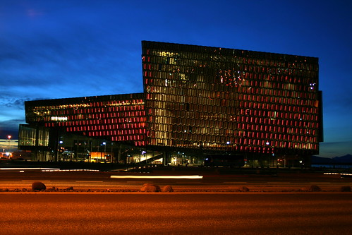 Outside Harpa Concert Hall Reykjavik at night