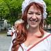 Vrouw in Middeleeuwse kleding