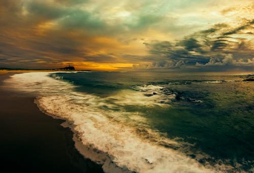ocean sea water clouds sunrise