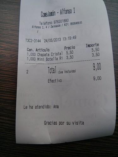 Zaragoza | ComeJamón | Ticket