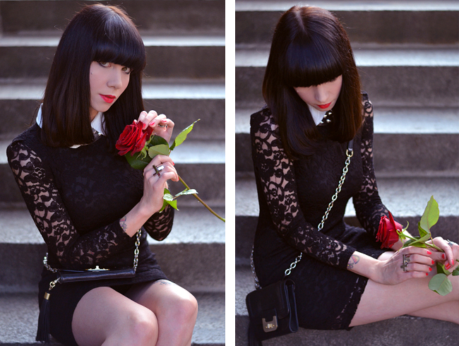 Lace dress and red rose blog 7