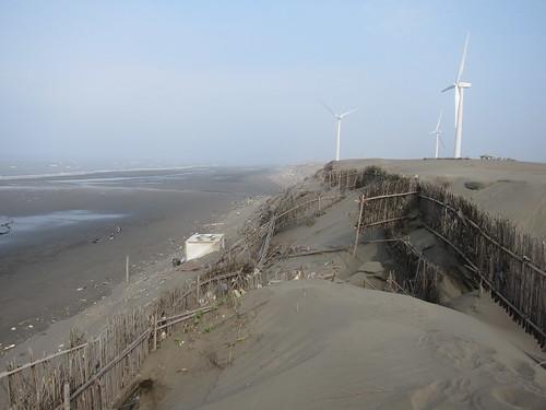 為了阻擋風沙,沙丘上插著密密的竹籬。攝影:台灣環境資訊協會