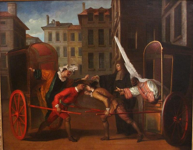 14) Claude_Gillot_-_Les_deux_carrosses_(vers_1707)
