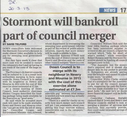 20th March 2013 Stormont Funds for Council Merger