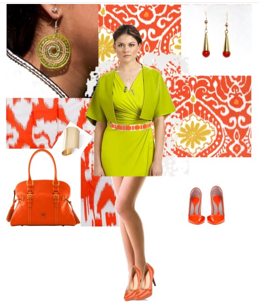 Chartreuse and Orange on Polyvore