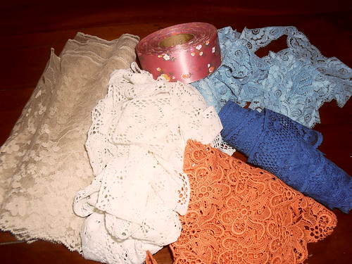 Vintage lace trims and floral ribbon