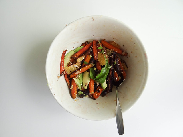 roasted rainbow carrot salad