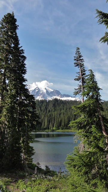 Mount Rainier across Reflection Lakes.