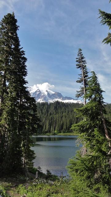 Mount Rainier across Reflection Lakes.