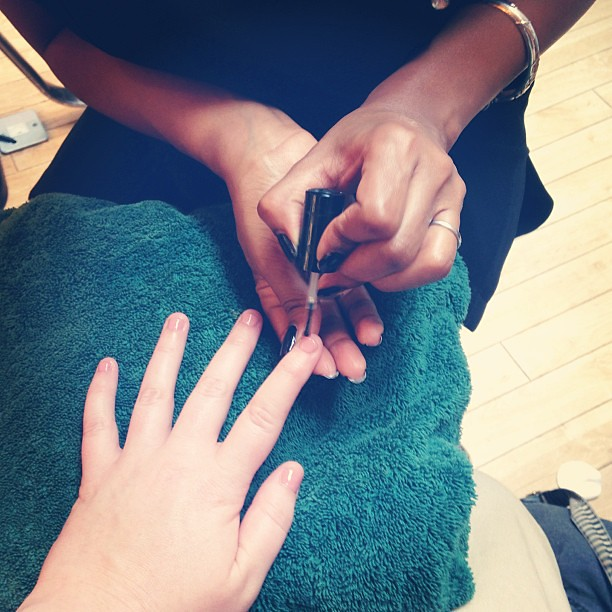 Mani while my hair is getting coloured! #spoiled #madblogawards