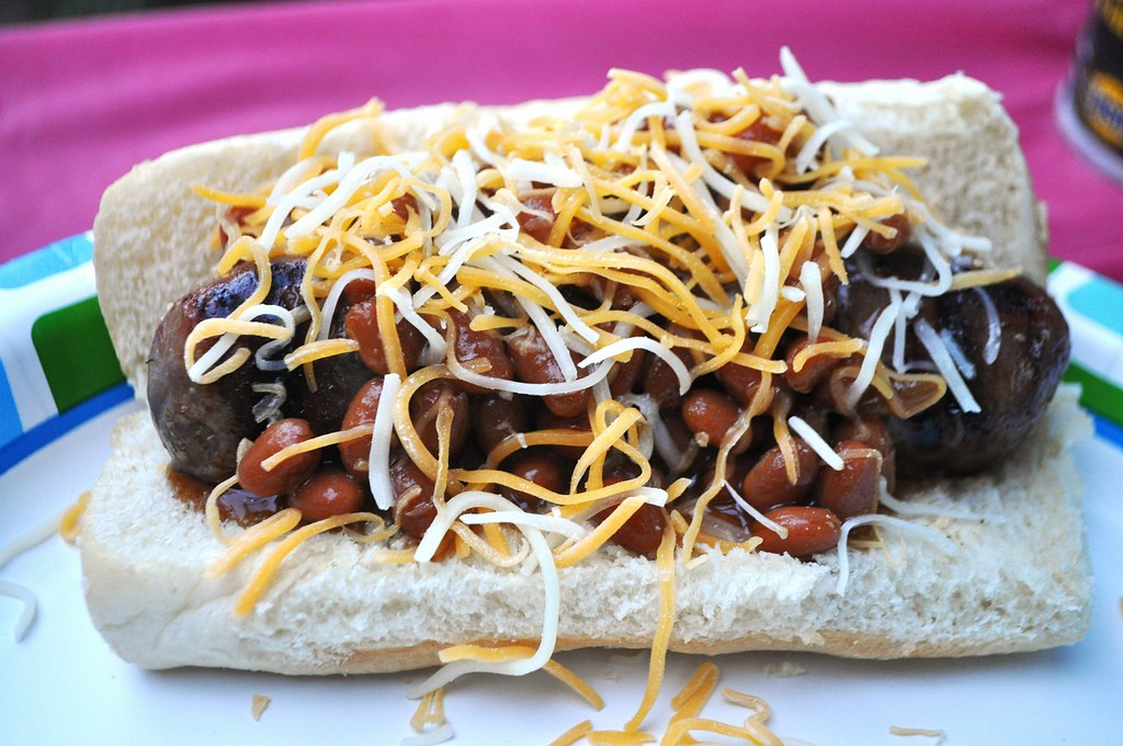 Brats with beans and cheese
