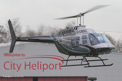 G-LBDC - 1984 build Bell 206B Jet Ranger III, inbound to the Heliport at Barton
