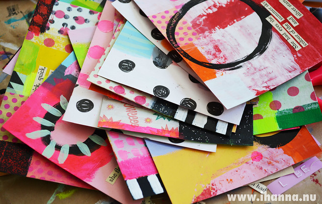 Another pile of awesome postcards, made by iHanna for the iHanna DIY Postcard Swap 2014. Visit to watch the video inspiration by Hanna Andersson #diypostcardswap