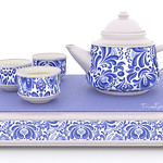 Chinese Tea Set Blue China 3D Models