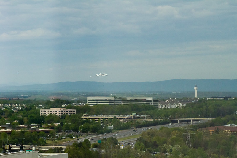 Space Shuttle Discovery Piggybacking to Dulles