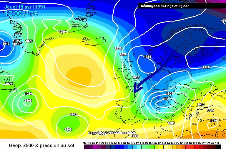 carte de situation lors du coup de froid tardif de fin avril 1991 météopassion