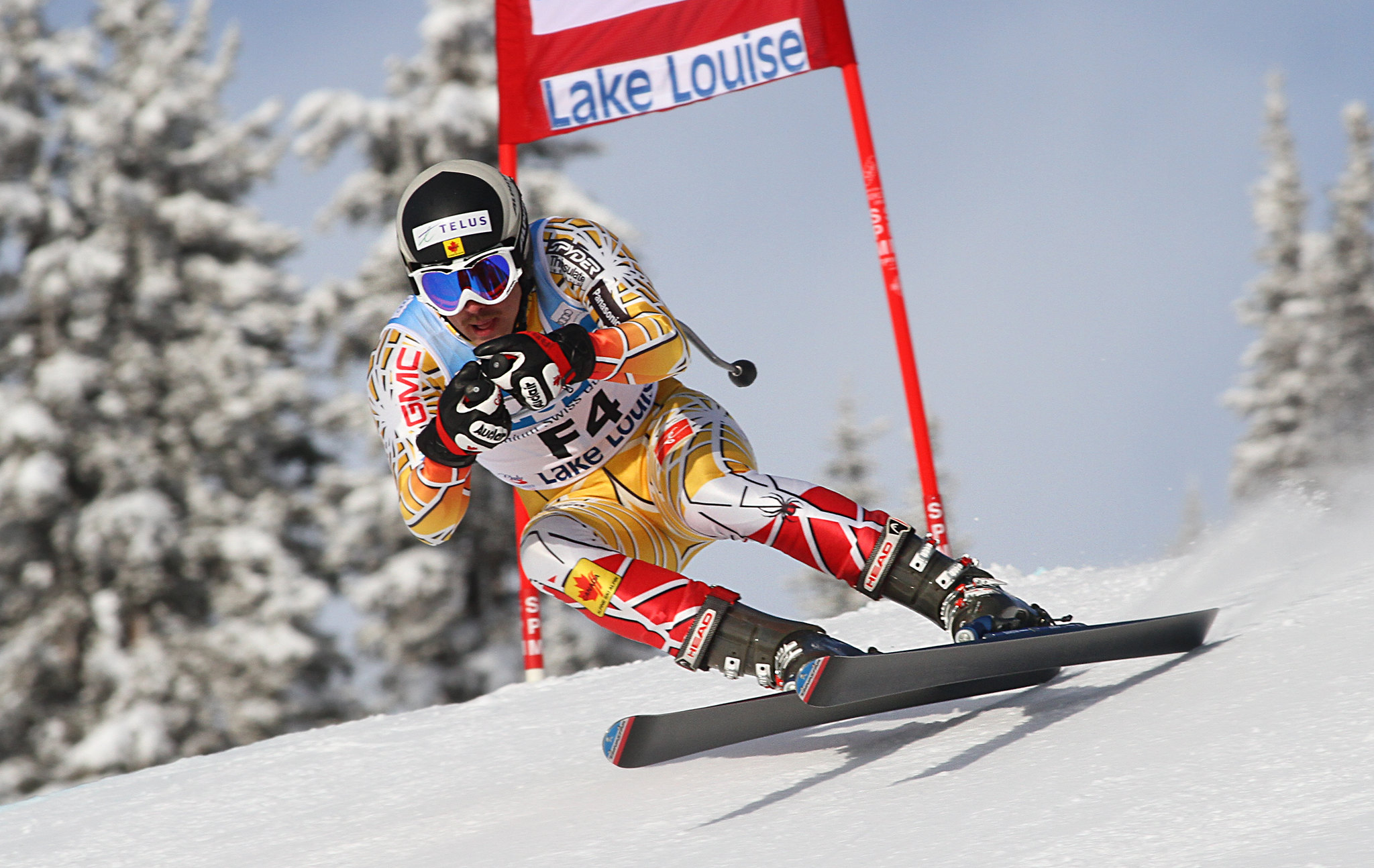 Robin Femy skis as a forerunner in the downhill in Lake Louise, Alta.