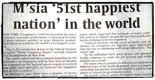 Malaysia 51st happiest nation