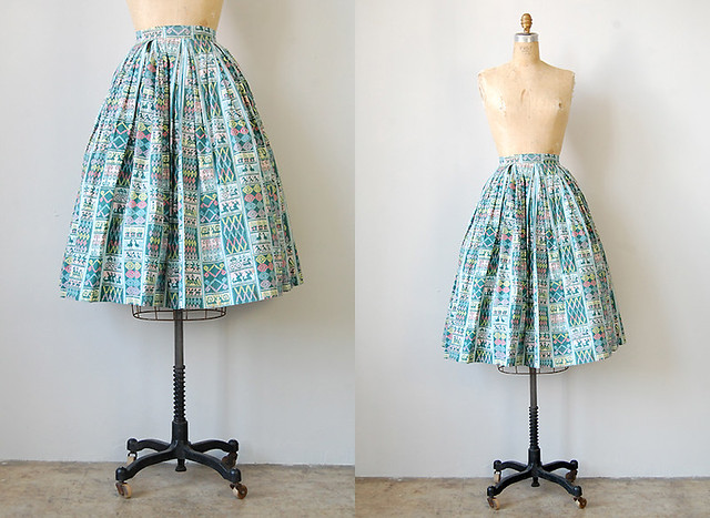 vintage 1950s mexican print skirt