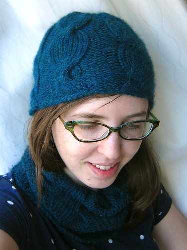Blue Alpaca Sunrise Hat and Cherry Garcia Cowl