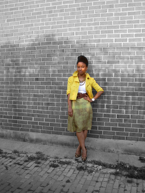 yellow cropped blazer and silk skirt 1