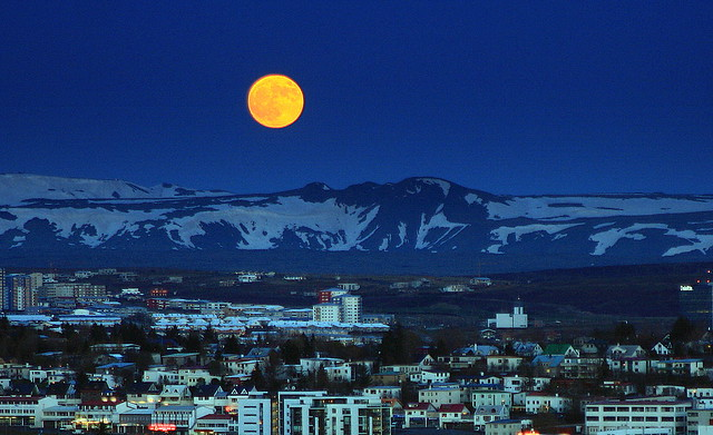 Supermoon over Reykjavik may 5th 2012