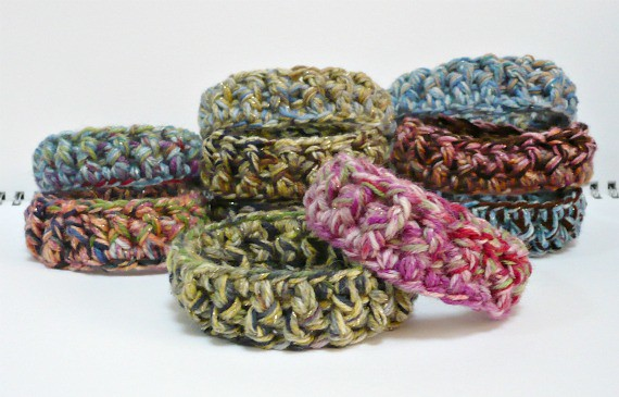 Crocheting With Two Strands Of Yarn : Crochet Bracelets Crocheted with three strands of yarn hel ...