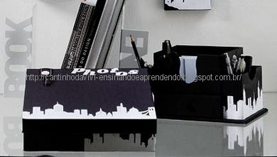 Caixa organizadora de scrap e tema metrópole by Vivianny Arte e Cia
