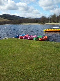 Paddle boats for hire on Loch Venachar.