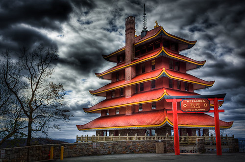 sky building architecture landscape reading pagoda pennsylvania pa hdr readingpagoda