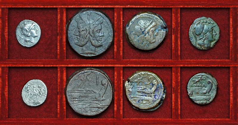 RRC 061 Victory denarius, as, semis, triens, Ahala collection, coins of the Roman Republic