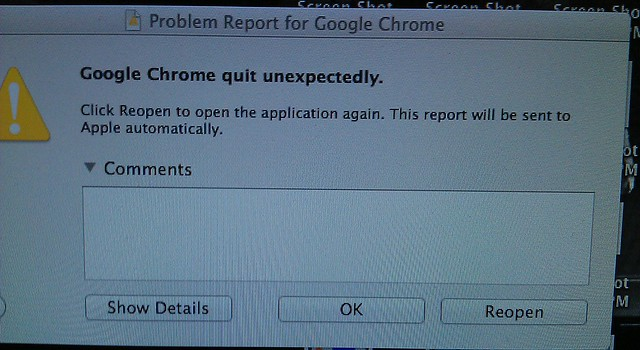 Chrome crashing on start up in OSX