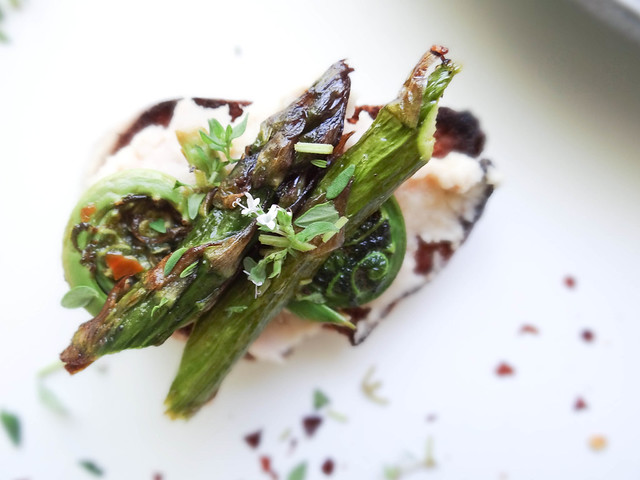 fiddle head + asparagus crostini