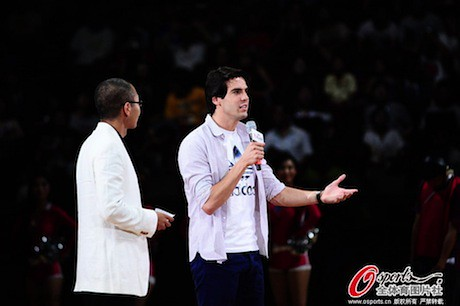 July 1st, 2013 - Brazilian soccer star says a few words to the crowd in Beijing