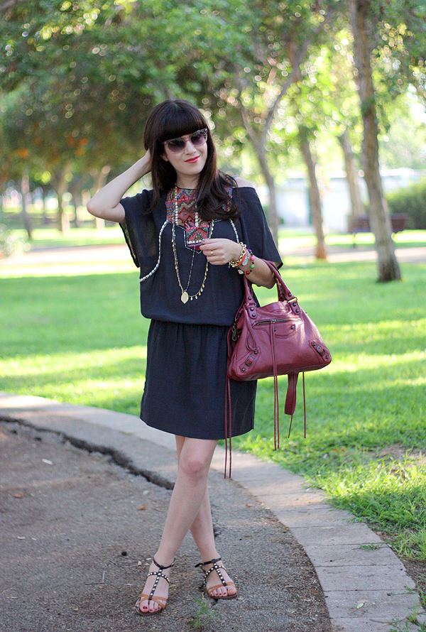 balenciaga bag, marc jacobs sunglasses, zara boho dress, studded sandals, בלוג אופנה, תיק בלנסיאגה, תיקי מעצבים, סנדלים דיסקו רוסו