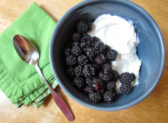 Black raspberries and Greek Yogurt