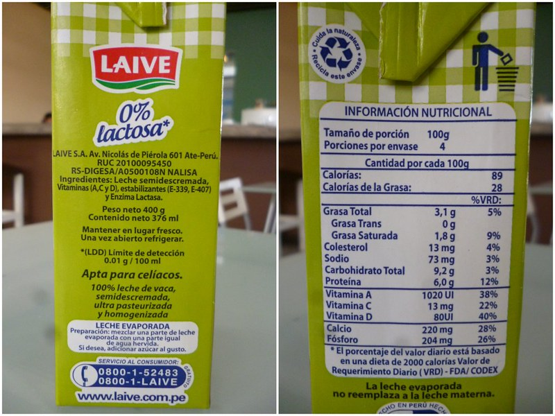 Nutritional label of lactose-less milk