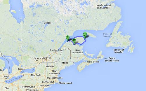 Gaspe Canada Map.Gaspe 2013