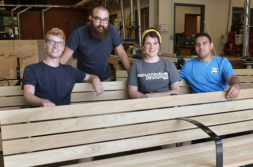 Industrial design students produced outdoor benches for ISU's new Troxel Hall (photo by Bob Elbert)
