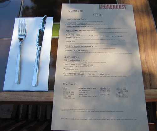 Lunch Menu at Big Sur Roadhouse