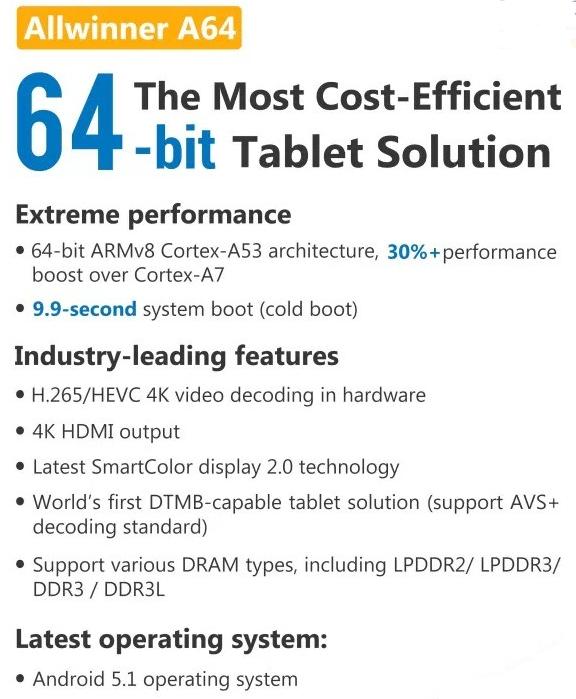 AllWinner A64, un SoC Cortex-A53 64 bits à 5$