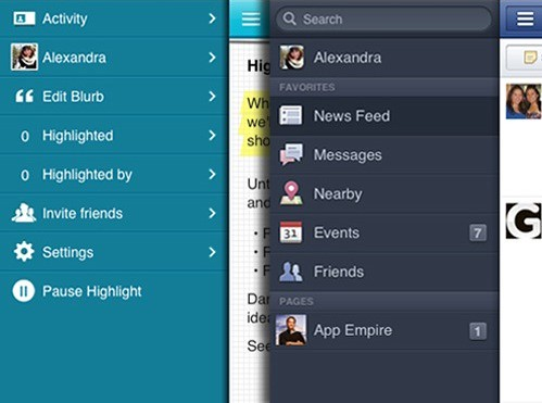 Highlight menu vs. Facebook menu