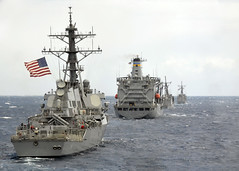 PACIFIC OCEAN (April 6, 2012) Guided-missile destroyer USS Benfold (DDG 65), underway replenishment ship USNS Henry J. Kaiser (T-AO 187), and guided-missile frigates USS Reuben James (FFG 57) and USS Vandegrift (FFG 48) transit in formation off the coast of Kauai during exercise Koa Kai. (U.S. Navy Photo by Mass Communication Specialist 2nd Class Daniel Barker)
