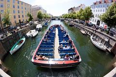 Fisheye and tour boat in Christianshavn