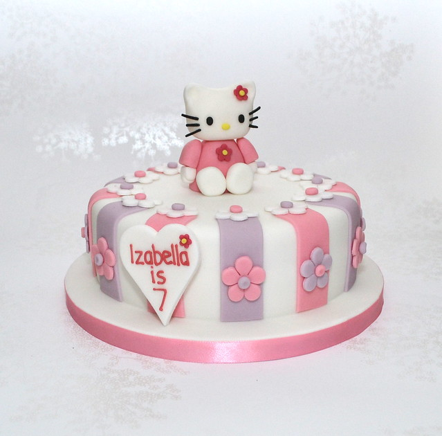 Purple and Pink Hello Kitty Birthday cake  Stripey Hello Ki ...