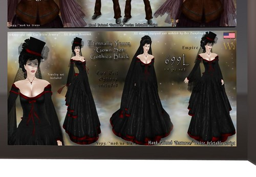 Eternally Yours -Gown Set- Gothica Black, 699 lindens by Cherokeeh Asteria